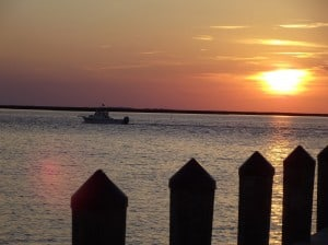 Sunset off the Crisfield city beach pier