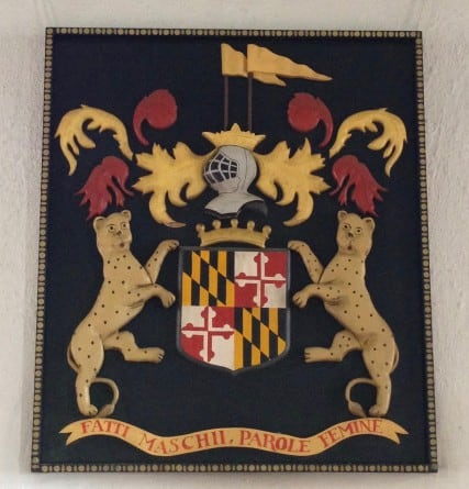 maryland crest inside the capitol building at Historic St. Mary's City