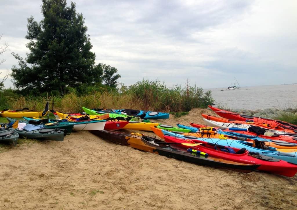 Kayaks on Ferry Park Beach, Rock Hall