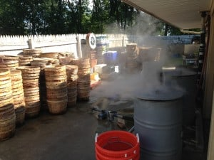 Steam rising from crab pots