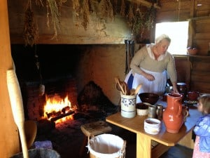 Hearth cooking demonstration at Historic London Town