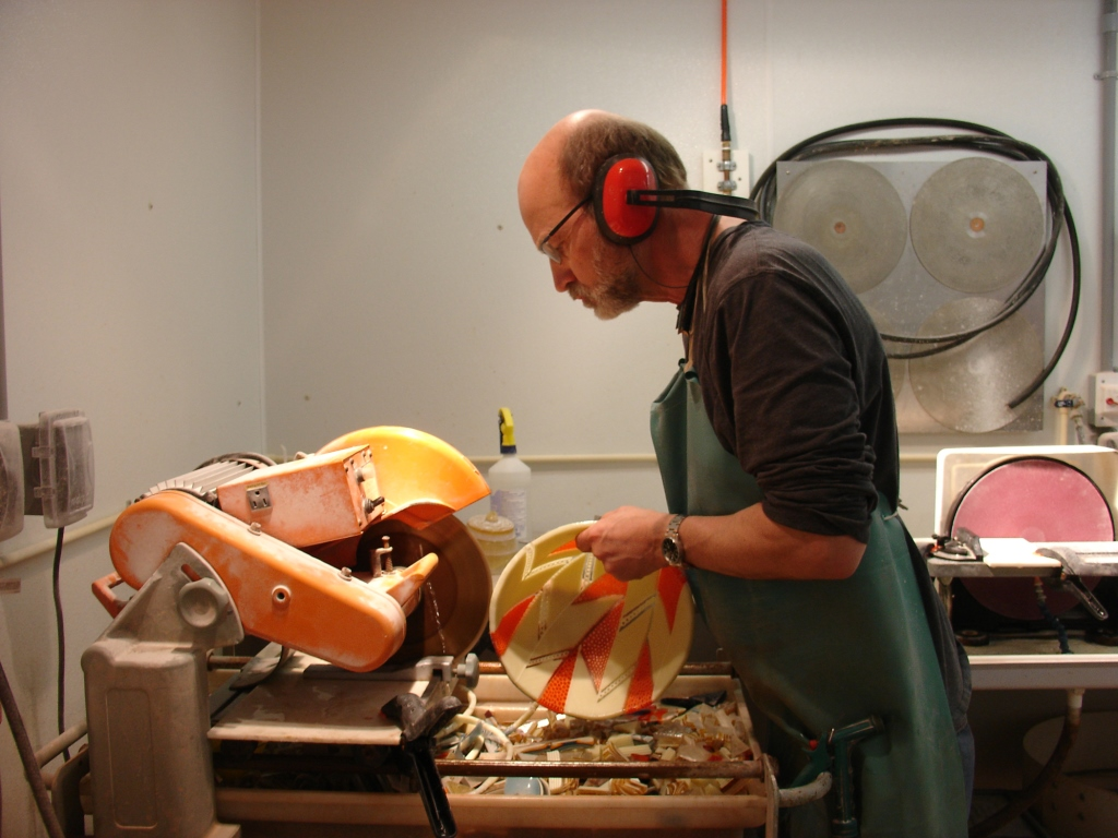 Dave Hegland cold-working a Strip Construction glass bowl