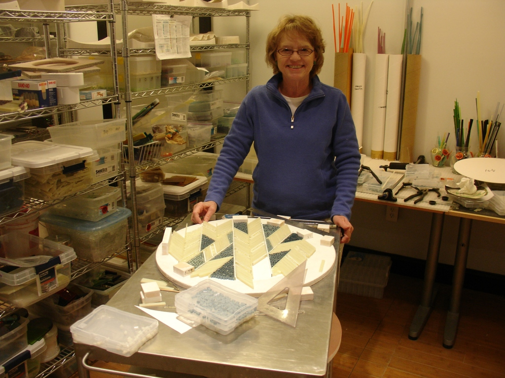 Patti Hegland with nearly complete Strip Construction glass bowl
