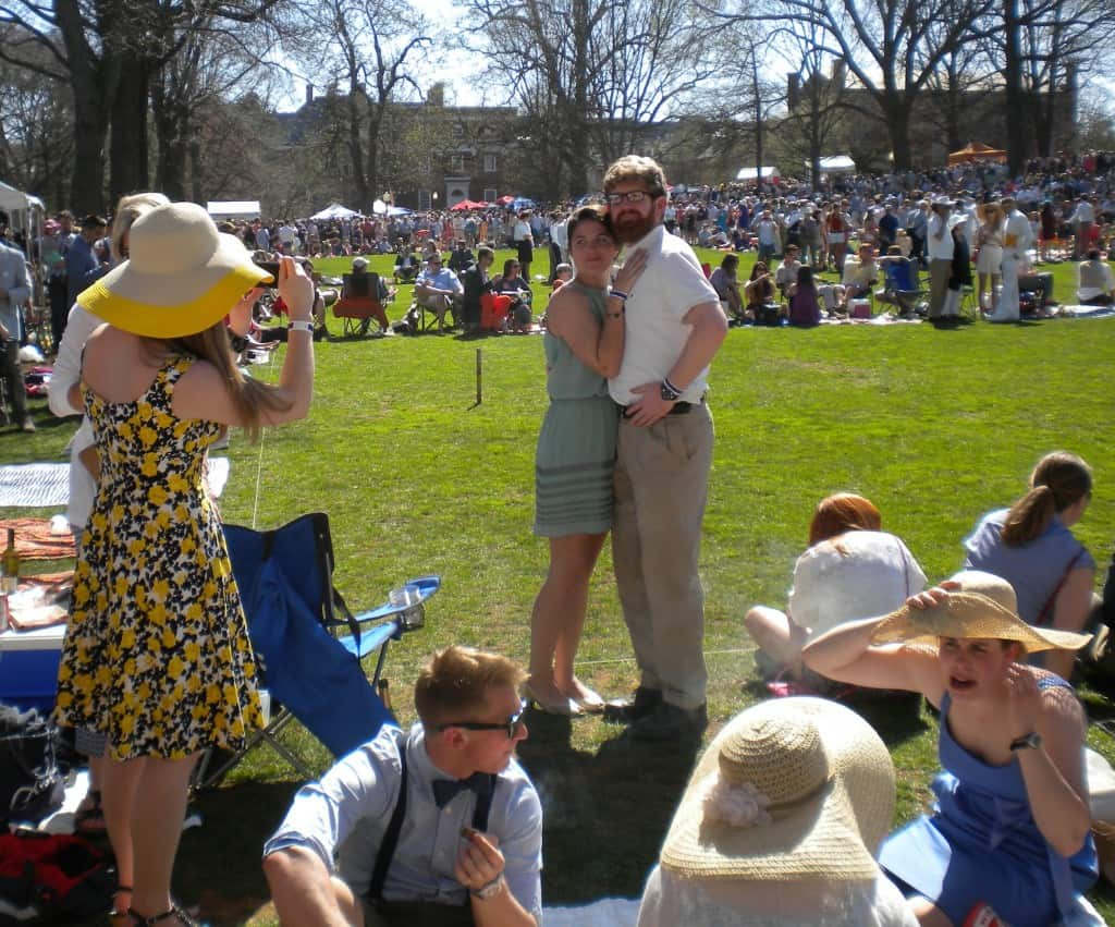 Visitors surround the fields of the Annapolis Cup croquet match