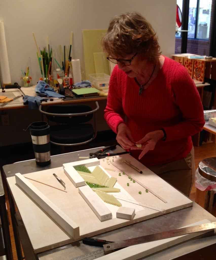 Patti Hegland working Strip Construction glass bowl