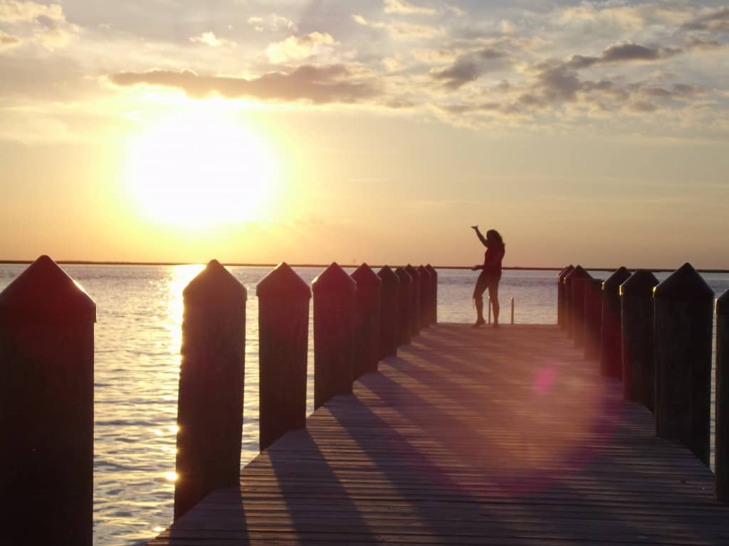 Crisfield, MD, fishing pier sunset