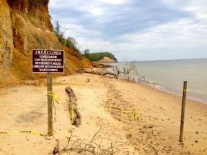 Closed cliffs at Calvert County State Park beach