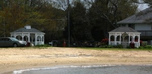 Gazebos & picnic area at Rock Hall's beach, called Ferry Park