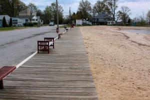 The boardwalk along Rock Hall's beach