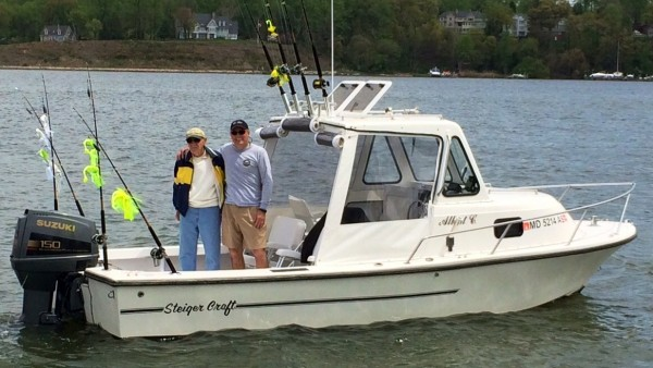 Gary Oster & dad on their 1988 Steiger Craft boat