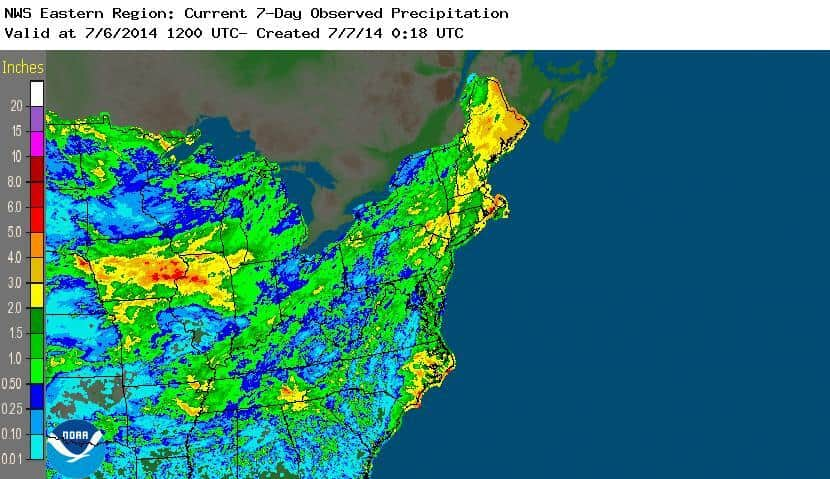 National Weather Service rain map of Hurricane Arthur