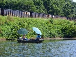 Fishing catfish from canoe