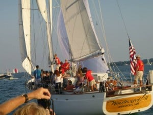 The Wednesday night final race -- wind was light, but breezier out in the Bay. It was a very close start.