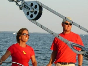 Aboard Woodwind II, Captain Jen and Andy decide on the starting position.
