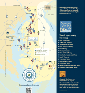Map of Maryland's Chesapeake Bay wineries