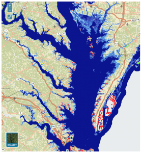 Lower Chesapeake Bay climate change map