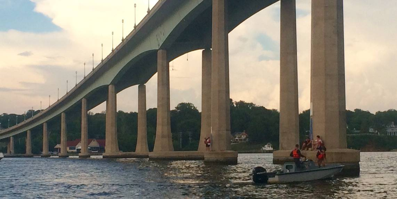 under the Chesapeake Bay Bridge