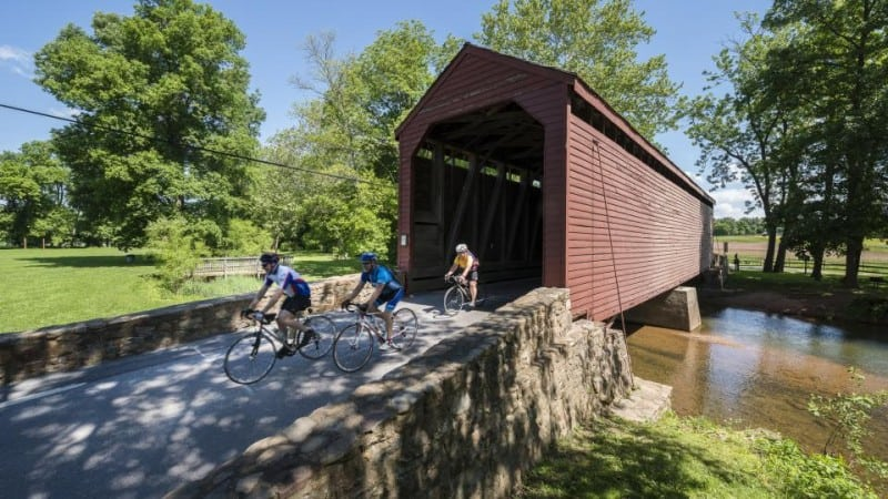 Biking through Loys Station Covered Bridge