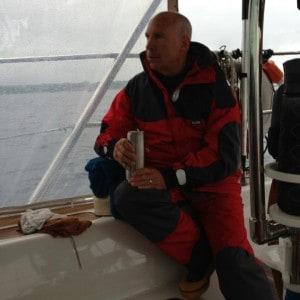 Ren Guindon in sailing foul weather gear