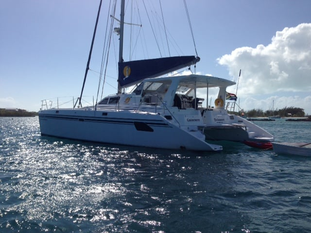 "Guinevere V, a St. Francis 50 built in South Africa, sailed to Florida for the Miami boat show, where she was purchased, then to George Town, Bahamas, and now on her way to ""summer"" in Massachusetts."