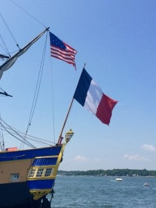 French & U.S. flag flying on L'Hermione