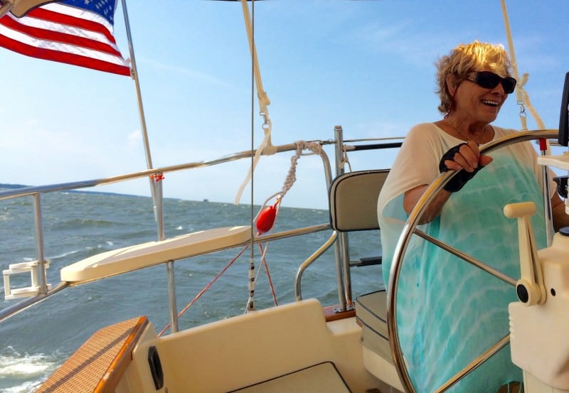 Patricia sailing Sante on the Chesapeake Bay