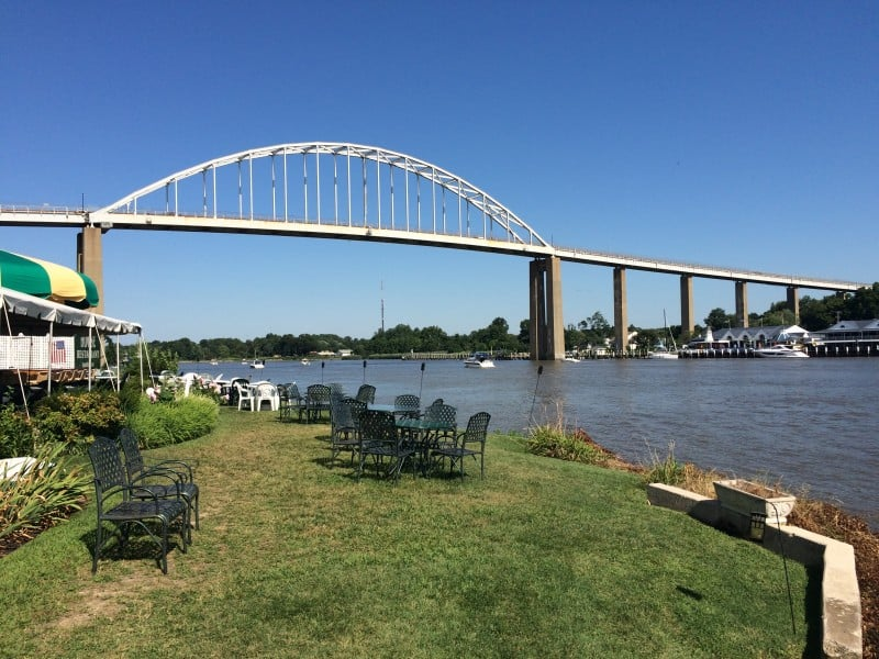 The C&D Canal from the Chesapeake City waterfront. This is the lawn by Bayard House.