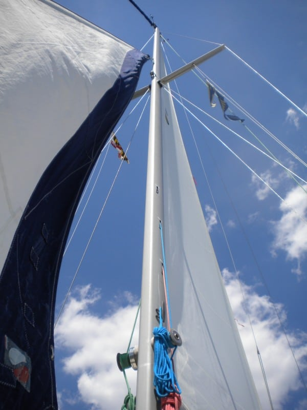 Trying to fill the sails with wind
