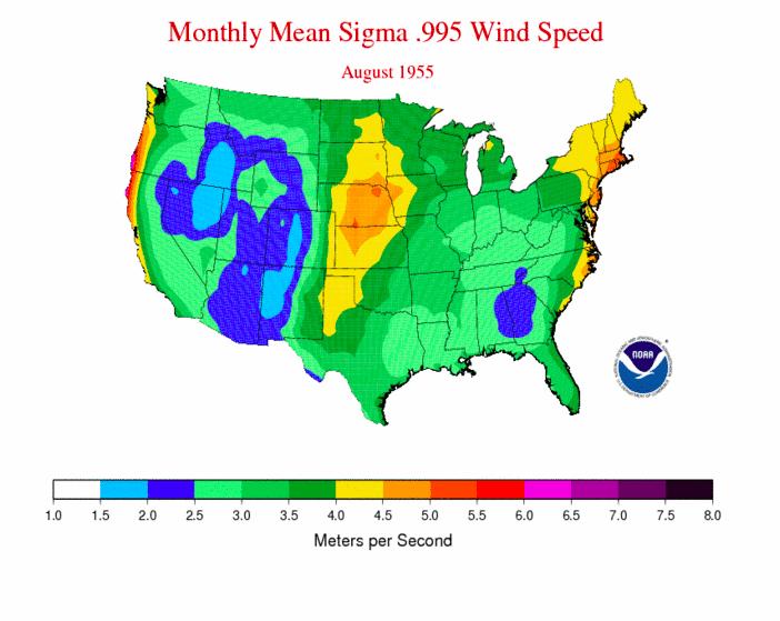 NOAA wind map 1955