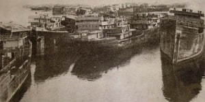 The Ghost Fleet grounded in Mallow's Bay circa 1925 (courtesy NOAA)