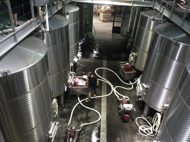 The tanks were grape juice is fermented before it's barreled at Quintessa winery in Napa Valley, California