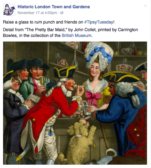 Facebook post by Historic London Town and Gardens
