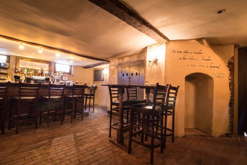 1747 Pub in Reynolds Tavern features craft beers. It's a intimate, low ceiling pub that maintains the original architecture in the basement, a former kitchen and hat shop (photo courtesy Reynolds Tavern)