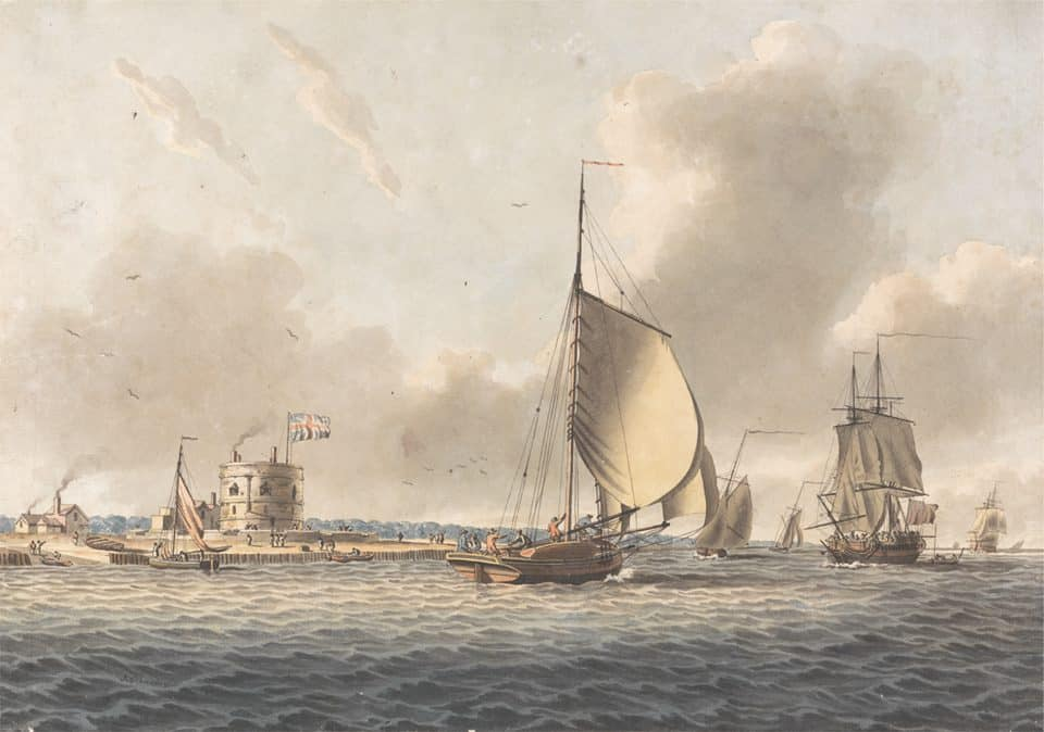 "Photo courtesy Historic London Town & Gardens -- ""An English Frigate and Other Shipping in the Solent off Calshot Castle,"" John Cleveley the younger, date unknown, Yale Center for British Art."