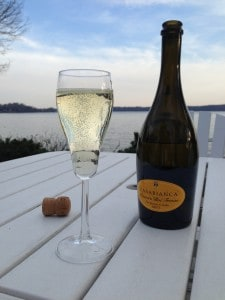 Bottle of Prosecco with Severn River in the background