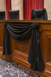 black crepe bunting on the chair to commemorate Associate Justice Antonin Scalia