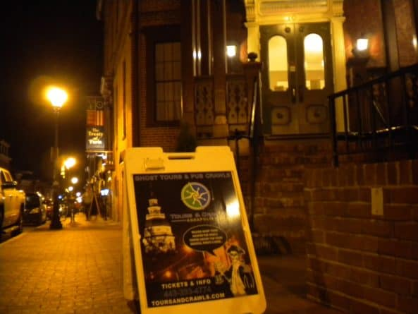 Annapolis haunted pub tour sign