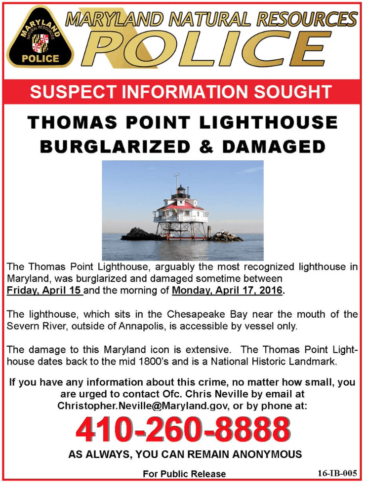 Maryland DNR Wanted Poster for Thomas Point Lighthouse vandals