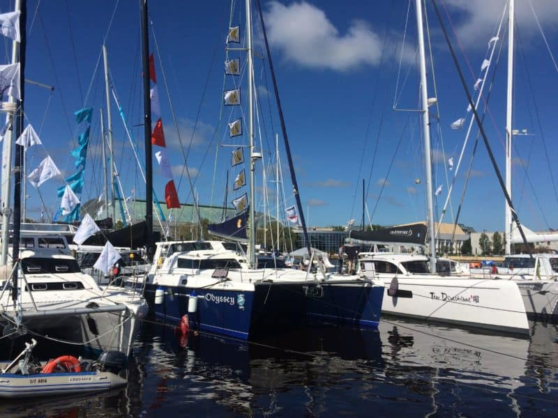 """The """"Odyssey"""" at the Annapolis Sailboat Show October 2016 after arriving  from South Africa"""