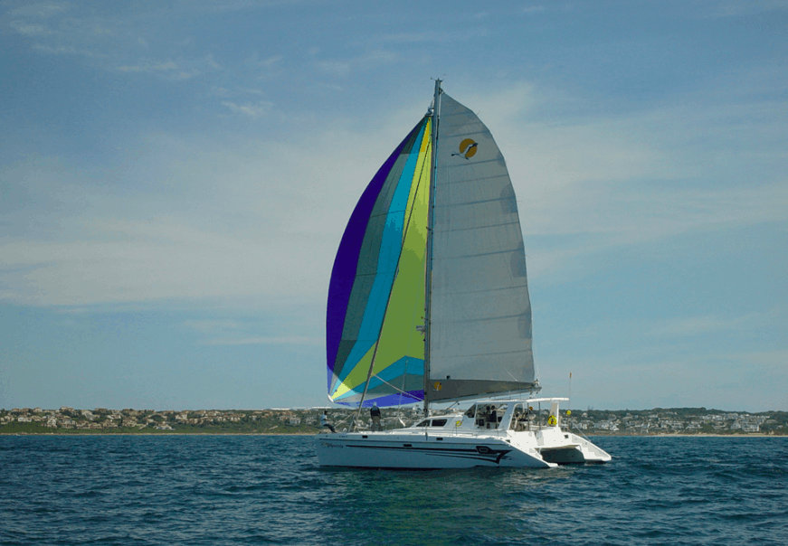 What a St. Francis sailboat looks like under sail