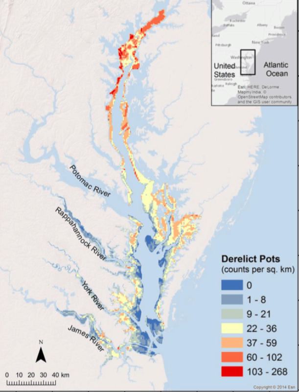 2016 Map of derelict crab pots in the Chesapeake Bay