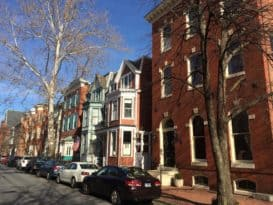 Historic downtown residential street in Annapolis