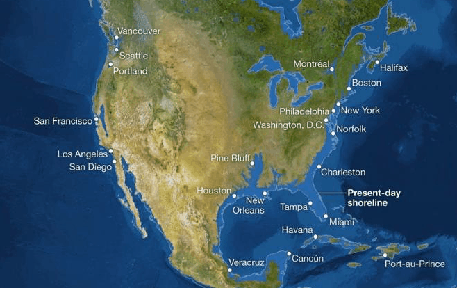 National Geographic map of Earth melt