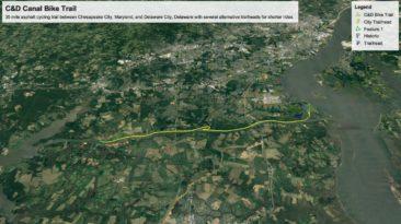 Google Earth Pro GPS map of C&D Bike Trail