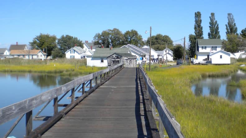 Boardwalk bridge across one of the many Tangier Island marshes.