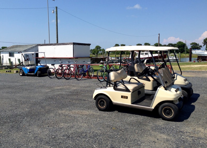 Golf carts & bikes for rent on Smith Island