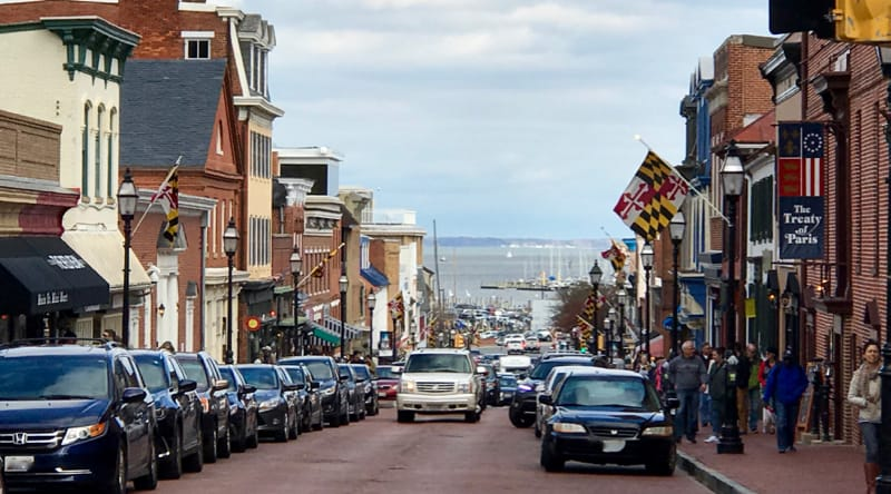 Main Street in Annapolis going downhill to the harbor.
