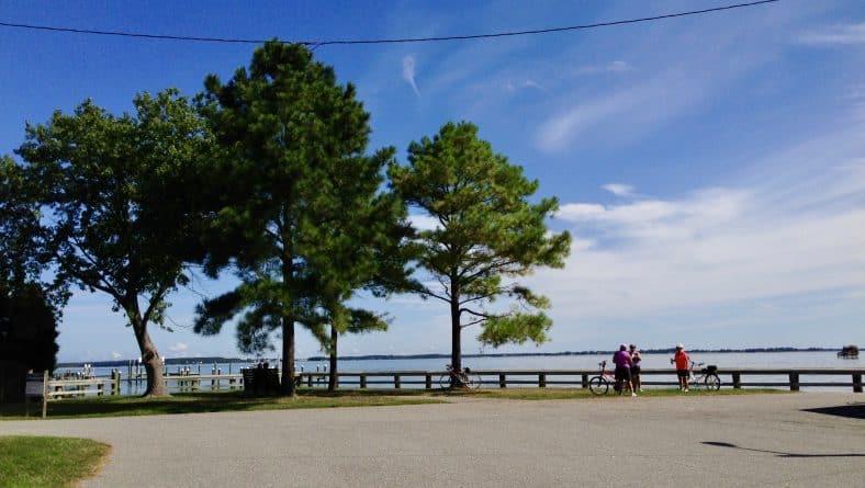 Cyclists at Romancoke Pier park on Kent island, MD