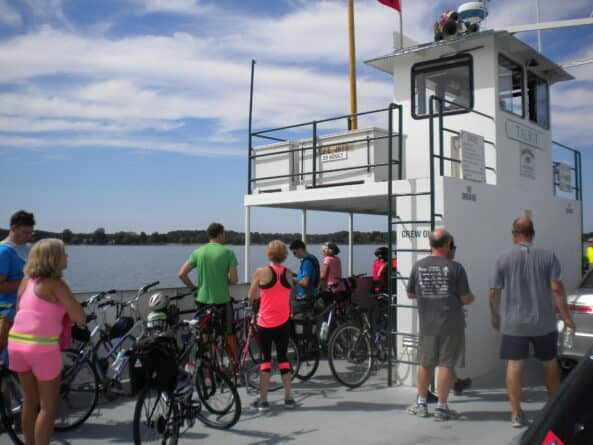 Cyclists on Oxford ferry in Maryland