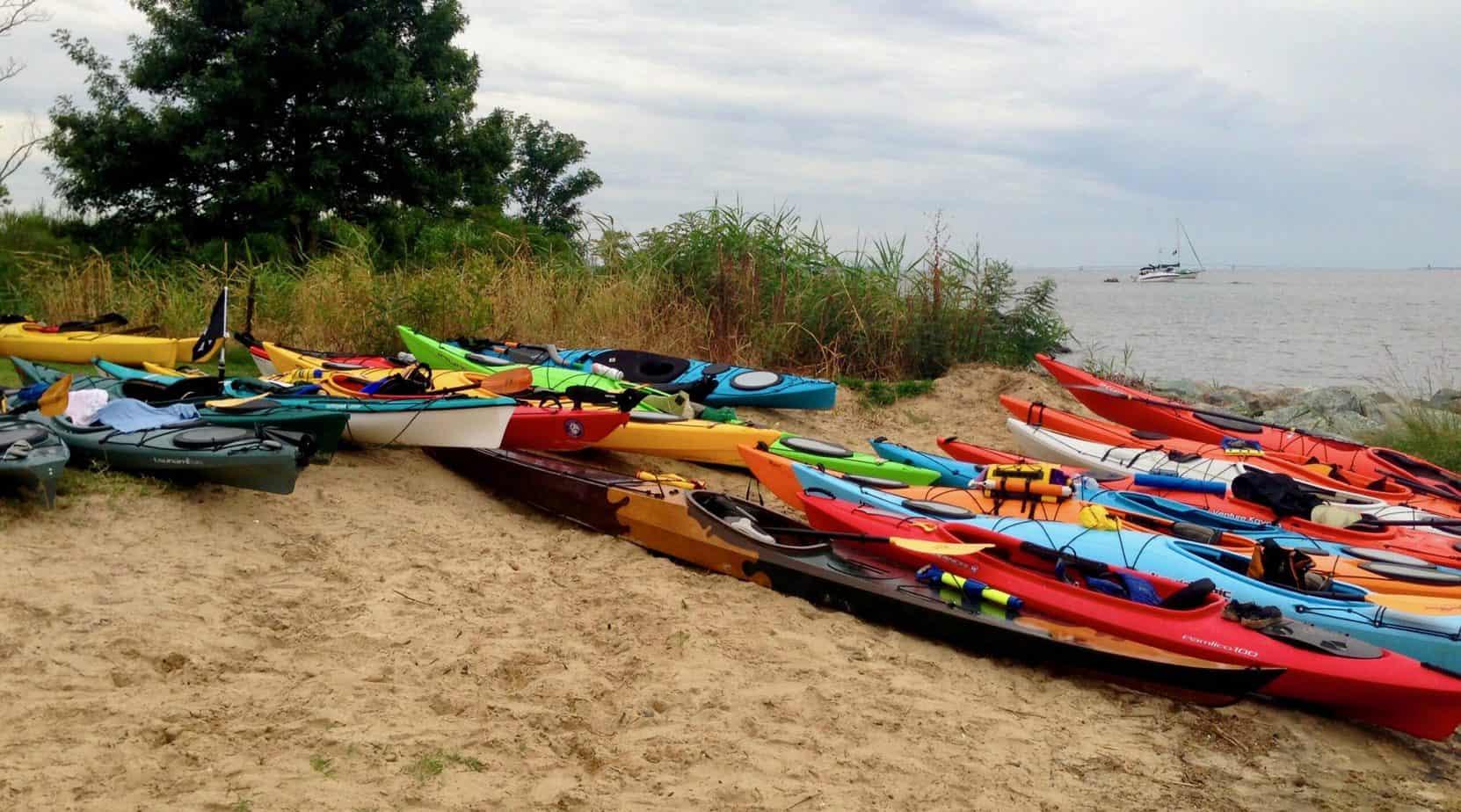 kayaks on Rock Hall public beach in Maryland